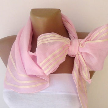 stripe pink cute scarf , fashion accessory ,cotton pink women scarves , spring summer trends