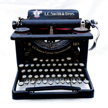 Vintage Typewriter, L.C. Smith & Bros., Corona Typewriters Inc.; Industrial Office Decor