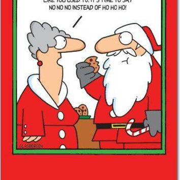 12 'No No No' Boxed Christmas Cards w/ Envelopes, Silly Santa Claus and Mrs. Claus Cartoon Christmas Notes, Funny Old Saint Nick and Cookies, Hilarious Christmas Stationery, Greeting Cards