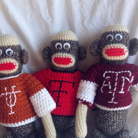 Crocheted Sock Monkey with Crocheted Team Football Jersey
