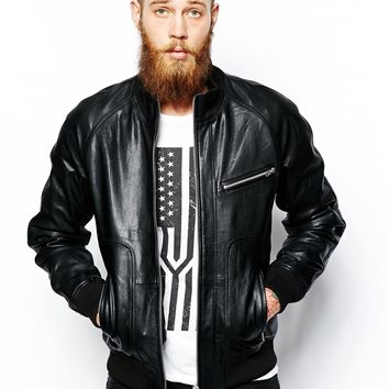 ASOS Leather Jacket With Funnel Neck