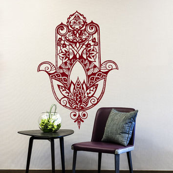 Hamsa Wall Decal Vinyl Sticker Decals Home Decor Hamsa Hand Fish Eye Indian Buddha Yoga Fatima Ganesh Lotus Patterns Art Bedroom Dorm T178