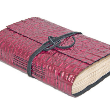 Burgundy Alligator Embossed Leather Journal with Tea Stained Paper - Ready to Ship -