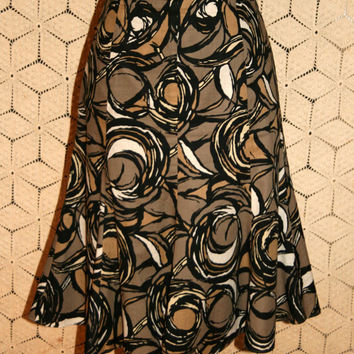 Flared Twirl Skirt Cotton Midi Skirt Abstract Black Brown Print Skirt Casual Earthy Taupe Talbots Size 6 Size 8 Small Medium Womens Clothing