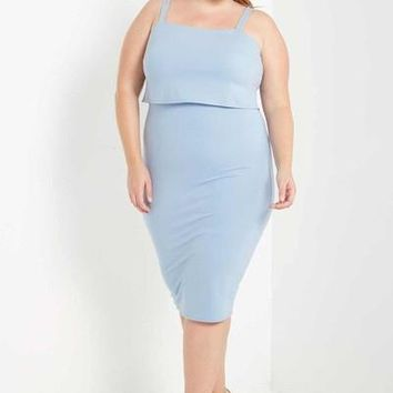 Penelope Overlay Bodycon Dress Blue