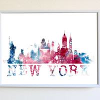 NYC Skyline Poster New York City Watercolor Print Wall Art Decor