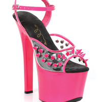 "Ellie Shoes Solar 7"" Neon Platform Black Light Reactive Spikes Fuchsia Nine"