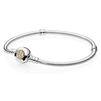 New 925 Sterling Silver Bracelet MOMEMTS Two-Tone Signature Snake Chain Bracelet Bangle Fit Women Bead Charm Pandora Jewelry