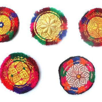 5 Psc Assorted Banjara Patches Tribal Patches, Ethnic Medallions, Bag Charm, Purse Charm, Jacket Charm, Hat Embellishment, Cow boy fashion