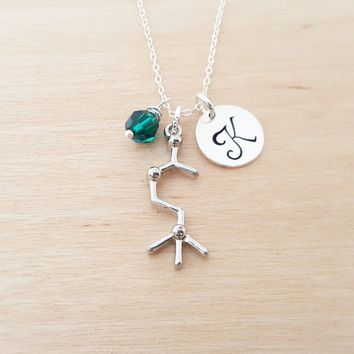 Acetylcholine Chemical Compound Personalized Sterling Silver Necklace