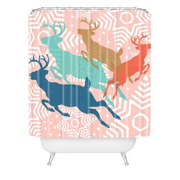 Heather Dutton Dashing Through The Snow Serene Shower Curtain