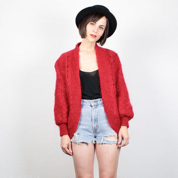 Vintage 80s Sweater Red Chunky Knit Cardigan Open Front Knit Bomber Jacket 1980s Oversized Jumper Fuzzy Mohair Knit Sweater Coat S M Medium
