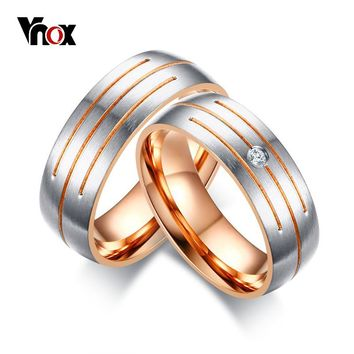 Vnox Parallel Lines Wedding Rings Band for Women Men Rose Gold-color CZ Stone Alliance Promise Band Bijoux