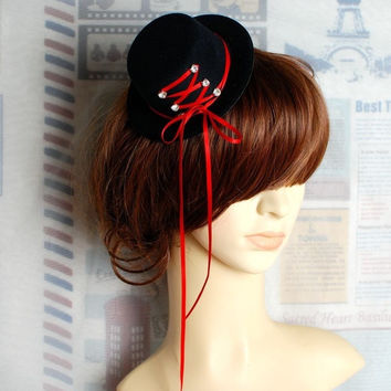 Gothic Hat White & Red Corset Steampunk Mini Top Hats Halloween Head Dress Accessories