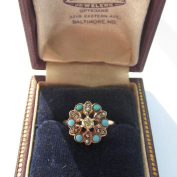 Antique Victorian Diamond Turquoise and Pearl Rose Gold Ring in Original Box