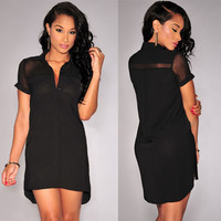 Black Sheer Mesh Panel Button Down High-Low Dress