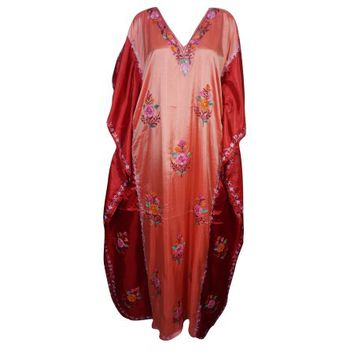 Mogul Crewel Traditional Embroidered Designer Maxi Caftan Silk Blend Resort Wear Cover Up House Dress Comfy Double Shaded Evening Dresses - Walmart.com
