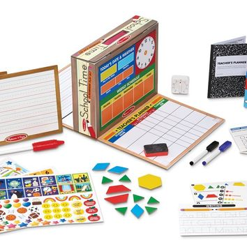 Melissa & Doug School Time! Classroom Play Set Game - Be Teacher or Student
