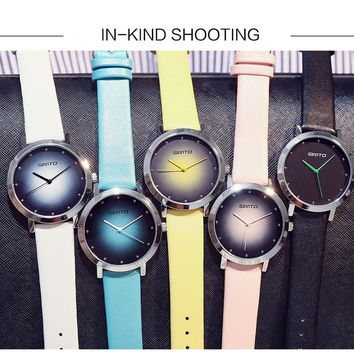 GIMTO Casual Colorful Dress Women Watches For Girls Quartz Watch Leather