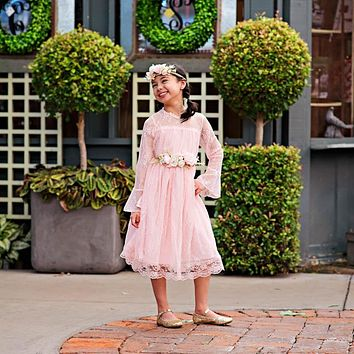 Pink Lace Long Sleeve Carmella Midi Knee Tea Length Dress & Flower Sash