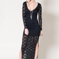 Sky Black Lace Long Sleeved Midi Dress With Side Split Detail | Oh My Love