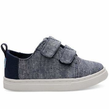 TOMS - Tiny Toms Lenny Navy Slub Chambray Sneakers