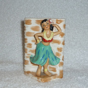Vintage Hawaiian Hula Girl Vase Planter JAPAN Hawaiiana CUTE Island Tiki Sand