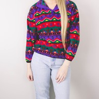 Vintage Colorful Aztec Fleece Jacket