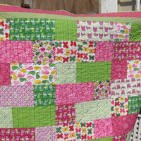 Throw blanket lap quilt hot pink and green large summer quilt ladybug whale butterfly