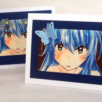 Anime card - teen birthday card - butterfly girl - blue haired girl - hand embellished greeting card - flower girl  - blank inside