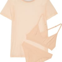 Baserange - Bamboo-jersey T-Shirt, soft-cup bra and briefs set
