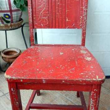 Vintage Red Chair Solid Wood distressed crackled paint, shabby fabulous sturdy accent- kitchen- desk - wedding furniture -Florida pickup