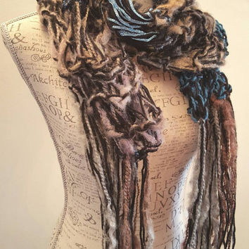 knit disheveled teal and black scarf. Glitter hints. Made by Bead Gs on ETSY. neon white Infinity scarf.