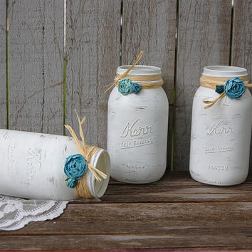 Shabby Chic Mason Jars, White, Turquoise, Teal, Aqua, Rustic, Hand Painted, Distressed, Wedding, Beach Decor, Painted Mason Jar