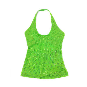 90's Hologram Neon Green Sparkle Halter Cut out Crop Top // S - M