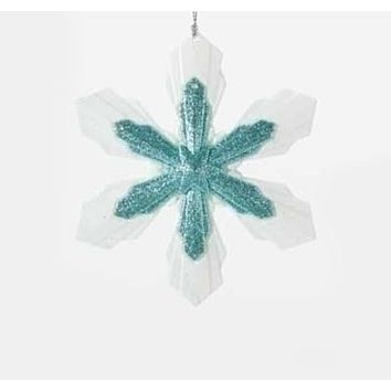 """5.25"""" Snowy Winter Glittered White and Minty Blue Snowflake Christmas Ornament"""