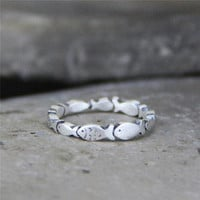 S999 Thai Silver Many Fishes Rings Little Finger Fashion Thin Rings For Women