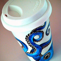 Octopus Ceramic Travel Mug Blue Nautical Sea Creature eco friendly kraken painted by sewZinski on Etsy