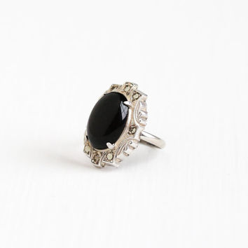 Vintage Art Deco Sterling Silver Simulated Onyx & Marcasite Ring - 1930s Size 4 Oval Black Glass Cocktail Jewelry