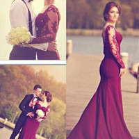 Elegant Long Wine Red Prom Dresses with Lace