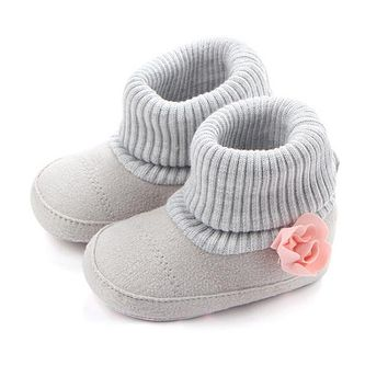 Autumn Winter Baby Girl Warm Shoes Crib Knitted Snow Boots Kids Newborn Infant Toddler Super Keep Flower Boots 0-12M