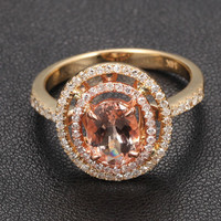 Oval Morganite Engagement Ring Pave Diamond Double Halo 14K Yellow Gold 6x8mm
