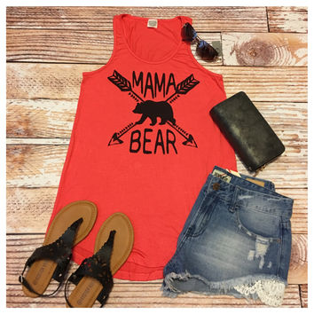 "Forever Me, MAMMA BEAR"" Coral Sleeveless Top"