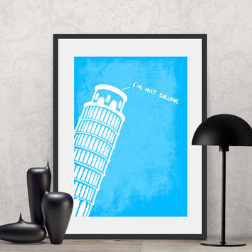 Leaning Pisa Tower | Poster Quote, Poster Art, Printable Art, Minimalist Poster, Minimalist Art.