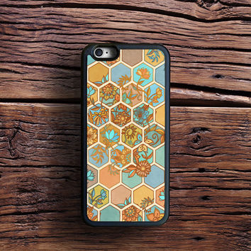 Golden Honeycomb Tangle - hexagon doodle in peach, blue, mint & cream Case iPhone 6s Plus, iPhone 6 case, iPhone 5s 5C 4s Case, Samsung Case, iPod case, iPad Case, HTC Case, Nexus Case, LG case, Xperia case