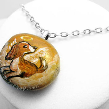 Springer Spaniel Necklace, Dog Pendant, Cocker Spaniel Art, Hand Painted Stone, Angel Jewelry, Memorial Painting, Pet Loss Accessory