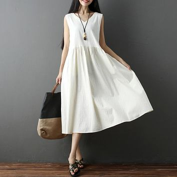 New Summer Women dress Sleeveless Loose V-Neck V Fan After 17 Bamboo Cotton And Linen Dresses Rice White Navy 8210