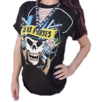 """Guns""""N""""Roses """"Skull and Top Hat""""Lace up Grommet Tee"""