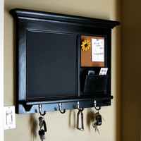 Heirloom Quality Wood Framed Bulletin Board - Chalkboard Keyhook Message Center with Mail Cubby Organizer in White or Black