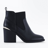 Wide Fit Black Metallic Trim Block Heel Boots | New Look